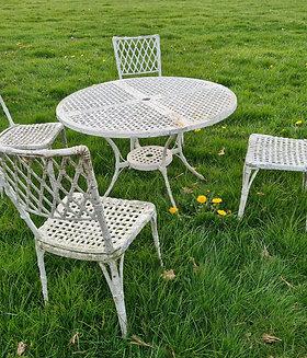 Art Deco cast aluminium garden set