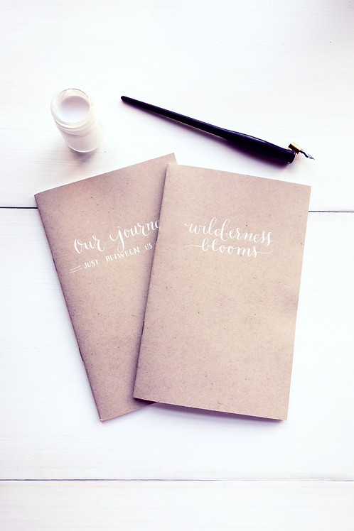Customizable calligraphed journal- craft paper