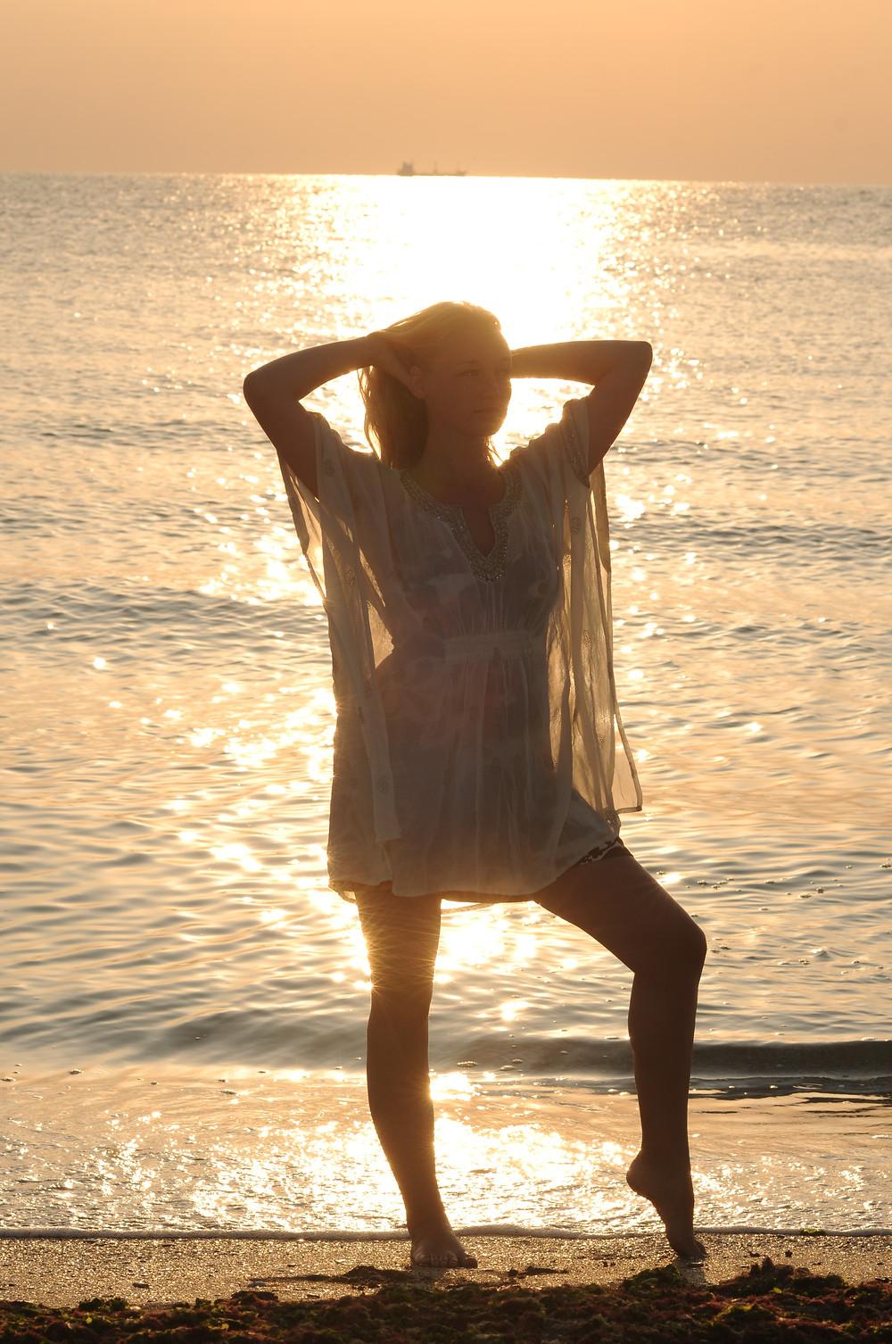 Celestine på stranden