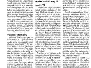 CSR dan Mitigasi Resiko - Maria R. Nindita Radyati - Media Indonesia