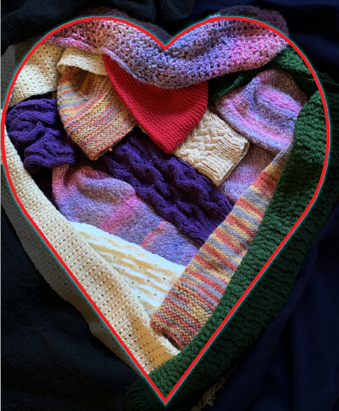 Sweater, scarves and hats, knitted with love
