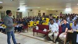 Dr. Ghosh, Rowan University, meeting with students at NRI College of Engineering, Vijayawada.