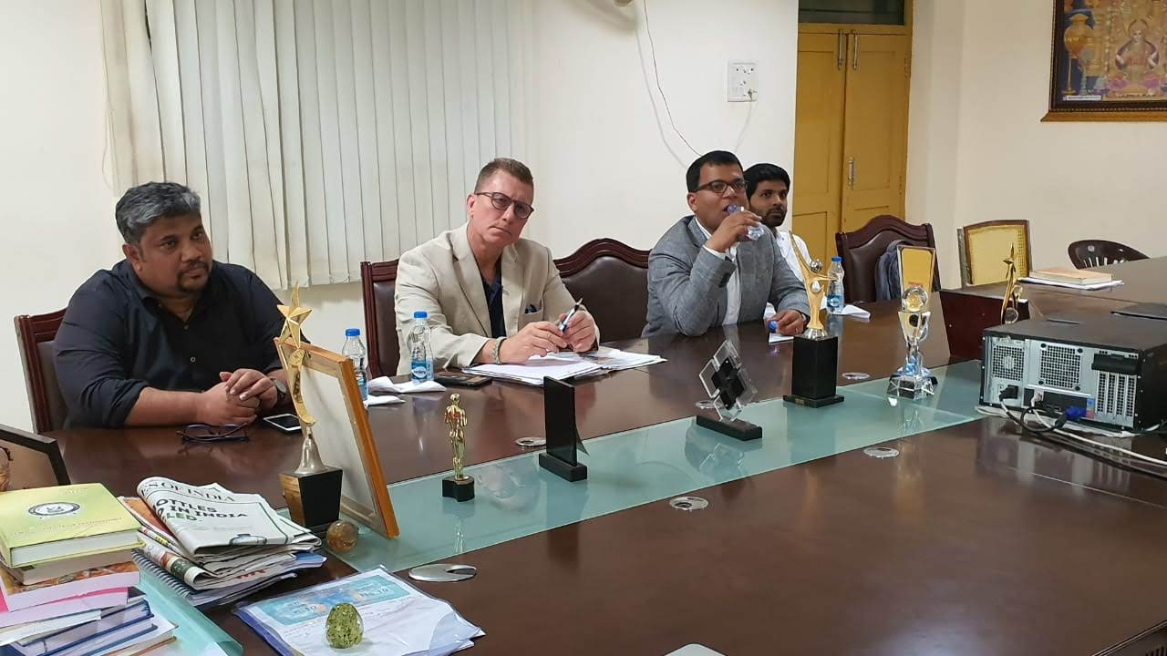 Dr. Ghosh, Rowan University, meeting officials at NRI College of Engineering.