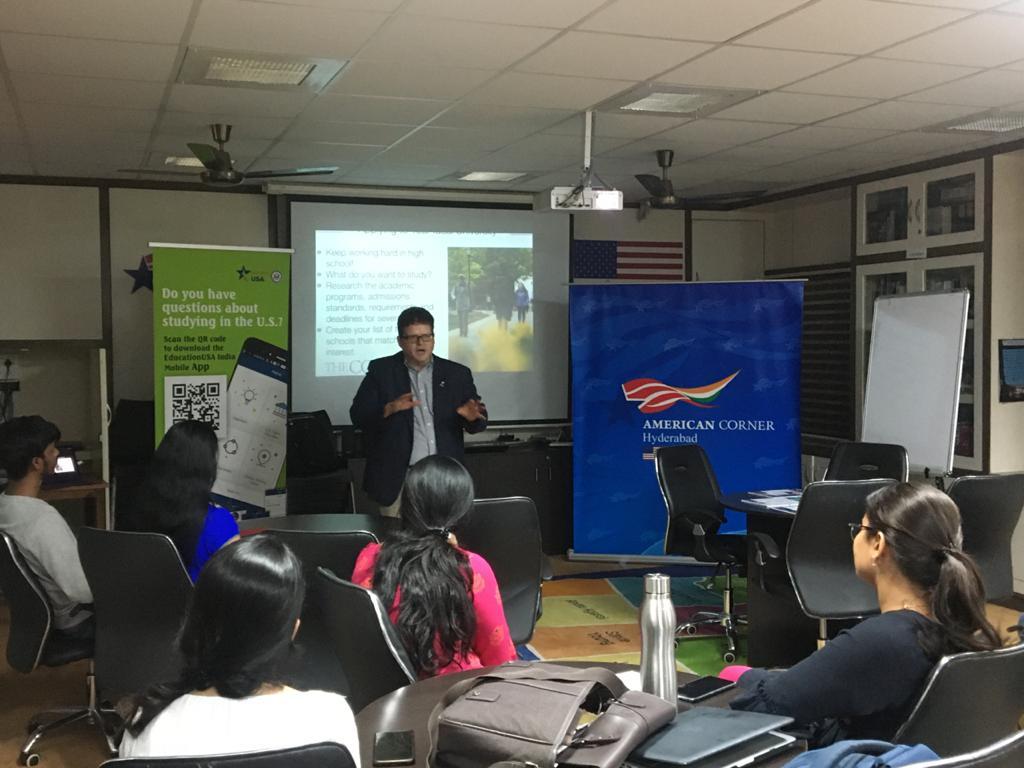 Dr. Zaboski, University of Scranton, speaking at the American Center, Hyderabad