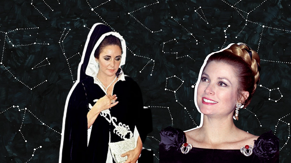Princess Grace and Elizabeth Taylor at High Scorpia Party