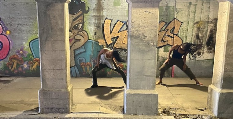 """A screen shot from Hubbard Street Dance Chicago's season opener, """"A Tale of Two,"""" created by former company member Rena Butler and filmmaker Talia Koylass."""
