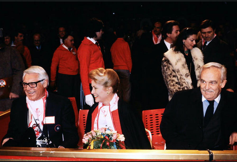 Actor Gary Grant, Princess Grace and Prince Rainier III attend the international Circus Festival of Monte-Carlo in Monaco in December 1977.