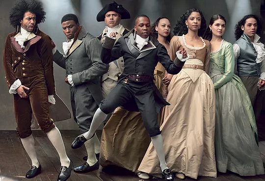 """Original Broadway Cast of """"Hamilton"""" in costume by Paul Tazewell"""