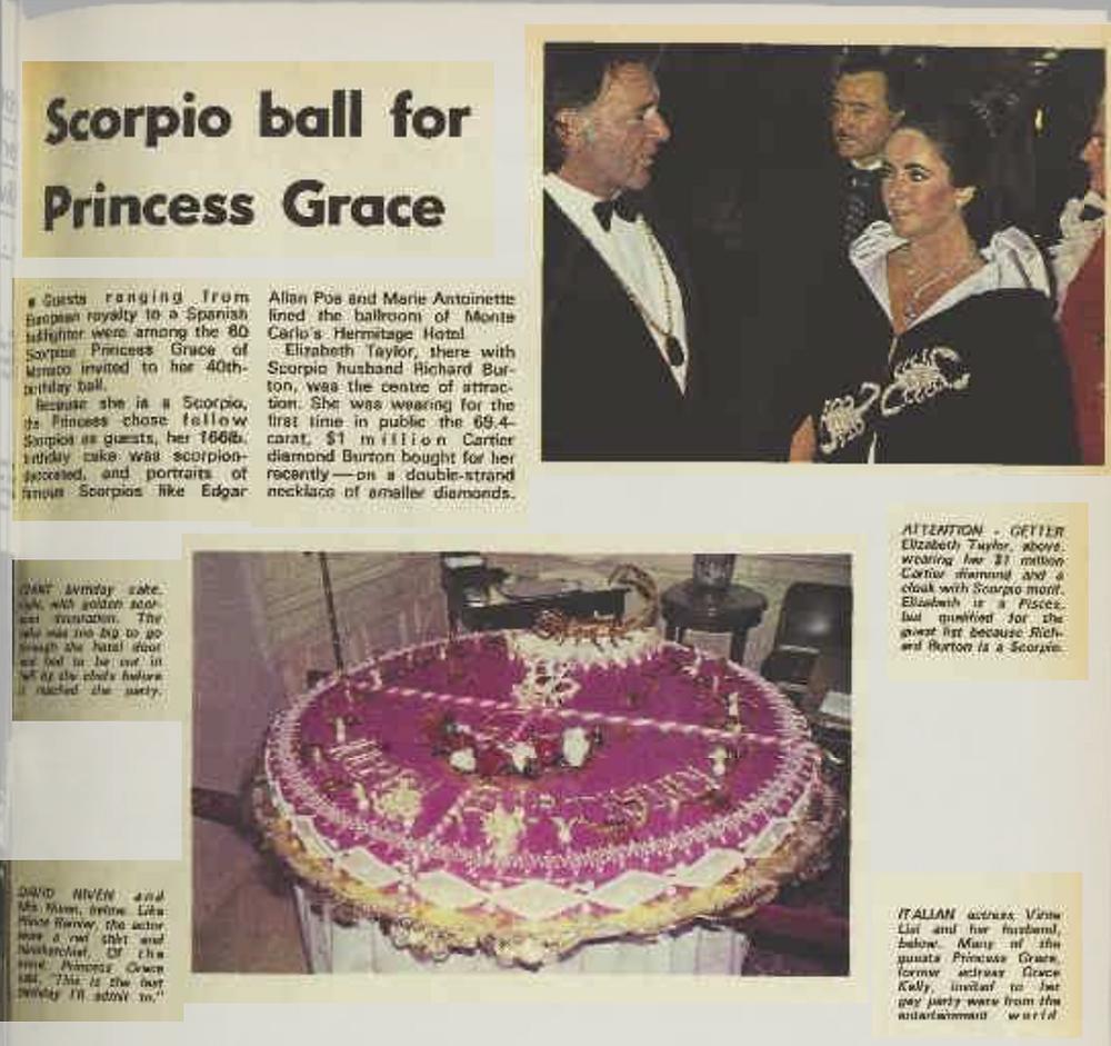 Newspaper article describing Princess Grace's Scorpio themed Zodiac birthday party.