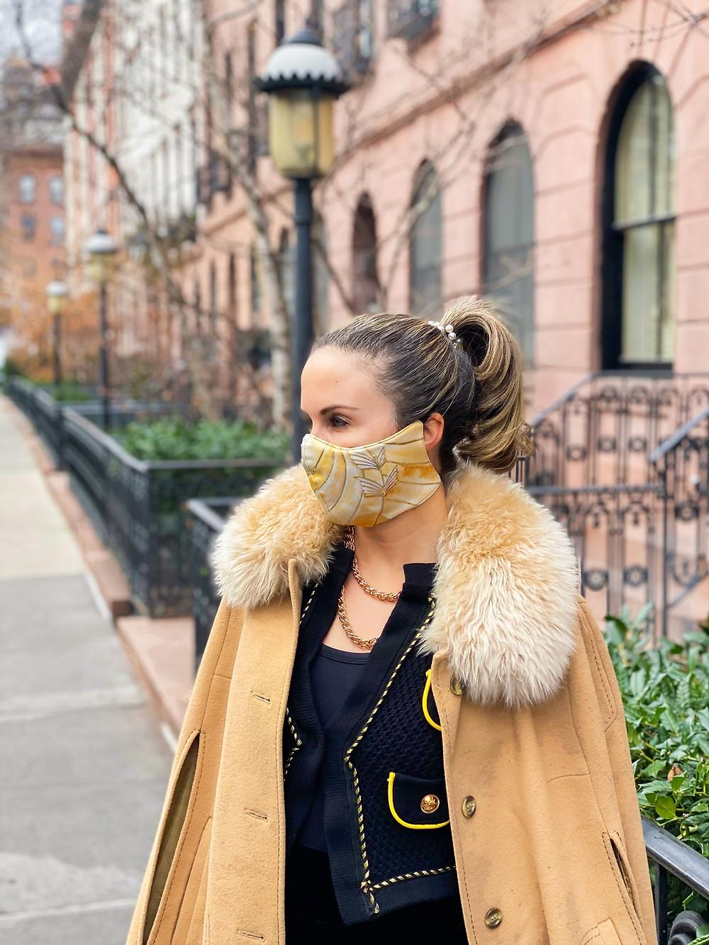 "Myka Meier wearing ""To Catch A Thief"" Grace Kelly inspired Princess Grace Foundation-USA mask"