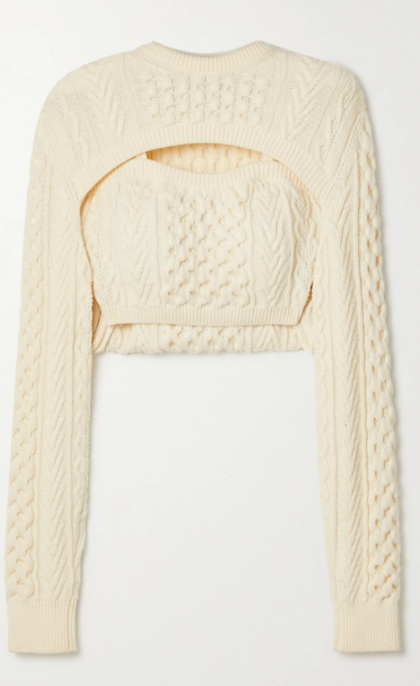Thousand in One Ways cropped cable-knit wool sweater from Rosie Assoulin