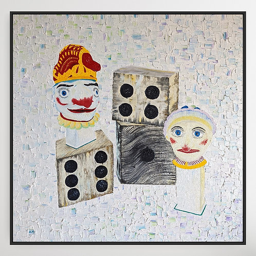 'Punch and Judy with Fairground Dice' Figurative Oil Painting