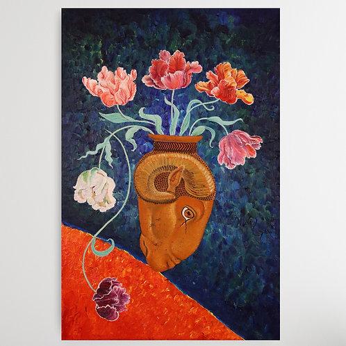 'Ram Vase with Tulips' Fine Art Print
