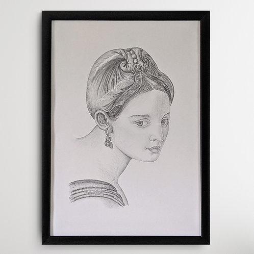 Fair Renaissance Lady 2 Framed Pencil Drawing A3