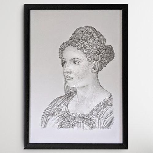 Fair Renaissance Lady 1 Framed Pencil Drawing A3