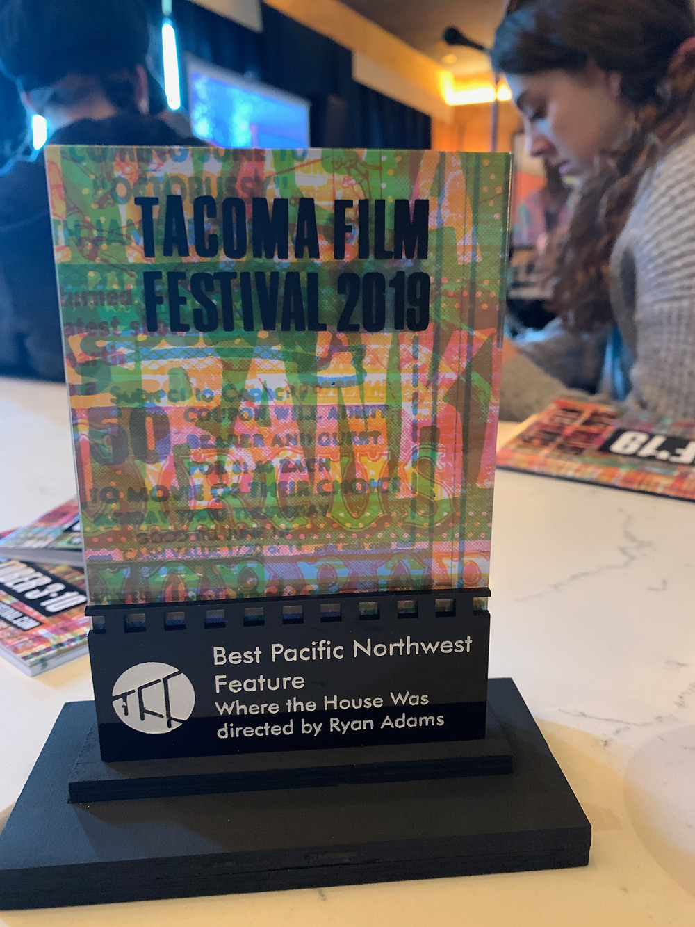 Award for Best Pacific Northwest Feature at Tacoma Film Festival, engraved to Where the House Was and director Ryan K. Adams