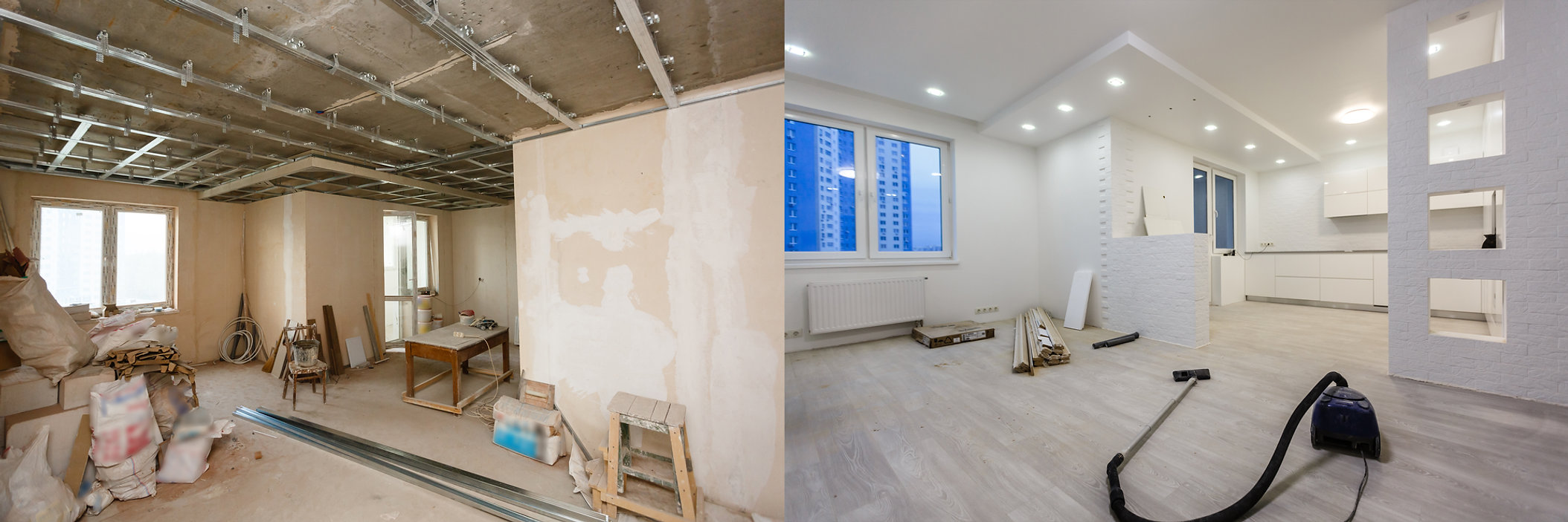 Comparison of a room in an apartment bef