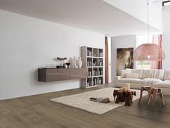 Pavimento in legno LARGE Rovere Rustico Spazzolato Verniciato Decapè Tiziano