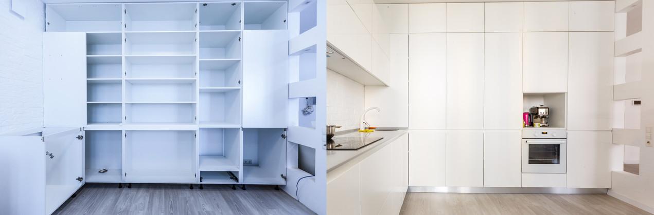 La cucina su misura di Lara e Salvatore. Parquet Unikolegno