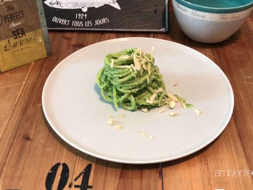 Spaghetti al pesto di aglio orsino e mandorle