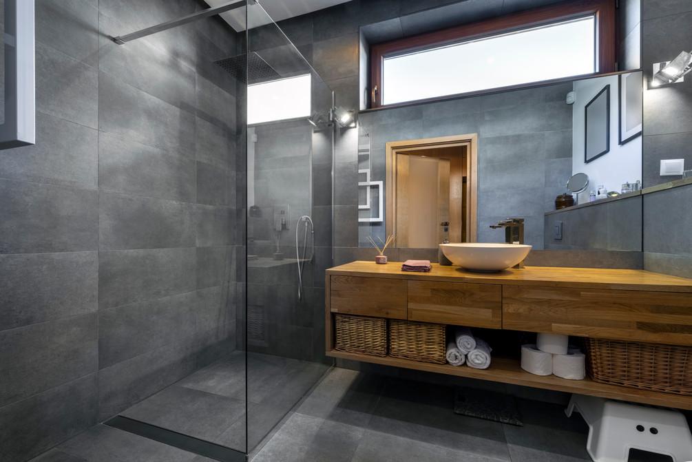Modern interior design - bathroom in gra