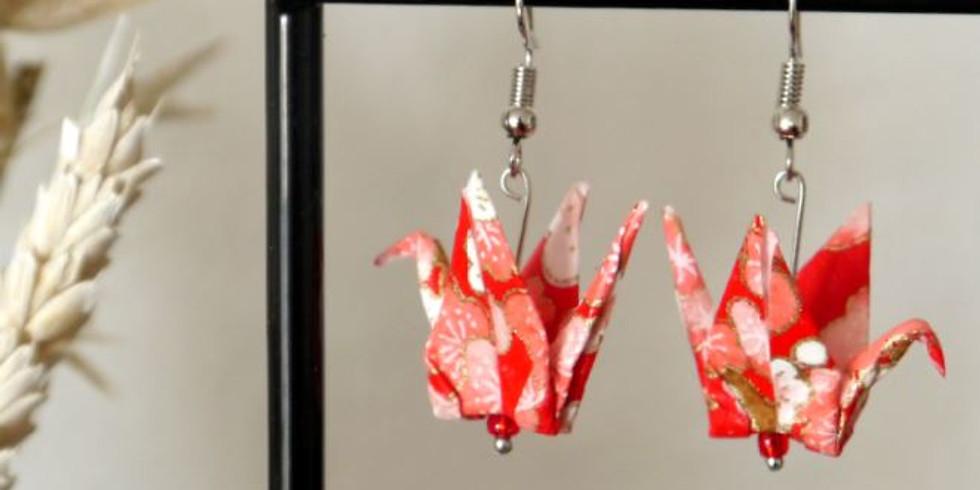 Atelier DIY / Boucles d'oreilles Grues en origami