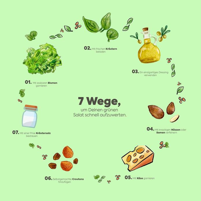 7 Wege, um Deinen grünen Salat schnell aufzuwerten