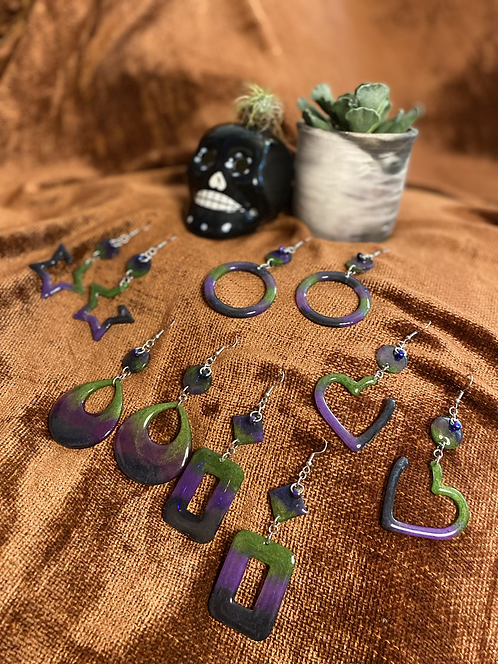 Halloween Dangles - Purple/Green/Black