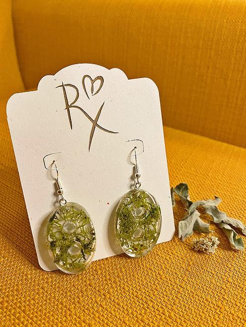 Mossy Oval Dangle Earrings