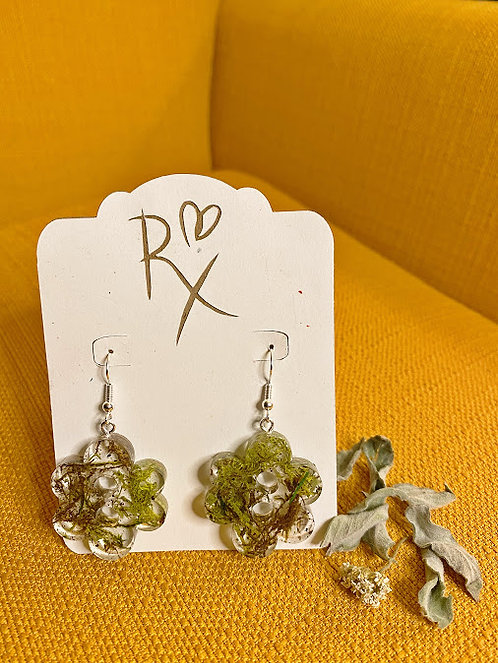 Mossy Flower Dangle Earrings