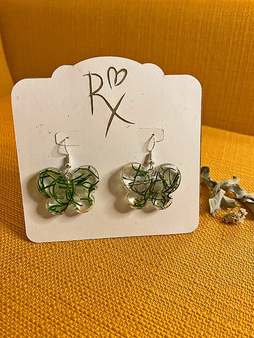 Mossy Butterfly Dangle Earrings