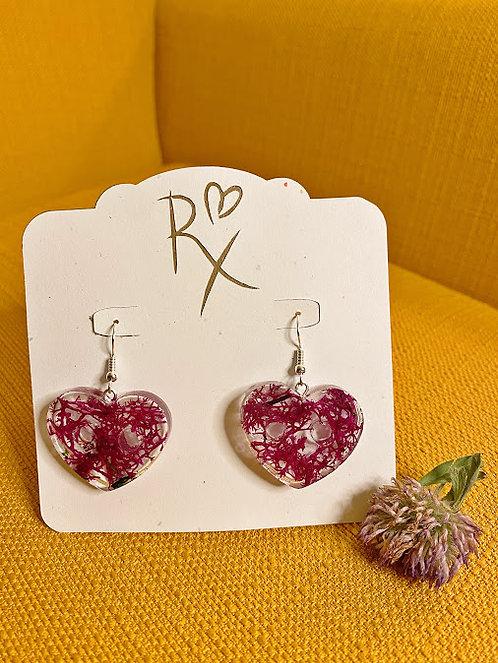 Purple Moss Heart Dangle Earrings