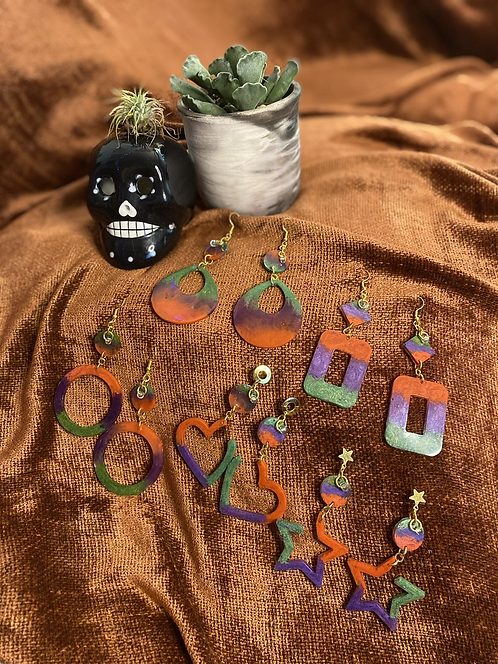 Halloween Dangles - Purple/Orange/Green