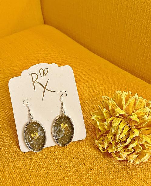 Silver Oval Floral Dangle Earrings
