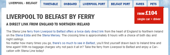 example cost of ferry from liverpool to northern ireland car delivery