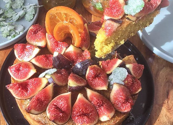 Polenta, ricotta, rose scented nut cake with fresh fruit in season