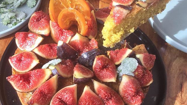 Polenta, ricotta, rose scented nut cake with fresh fruit in season