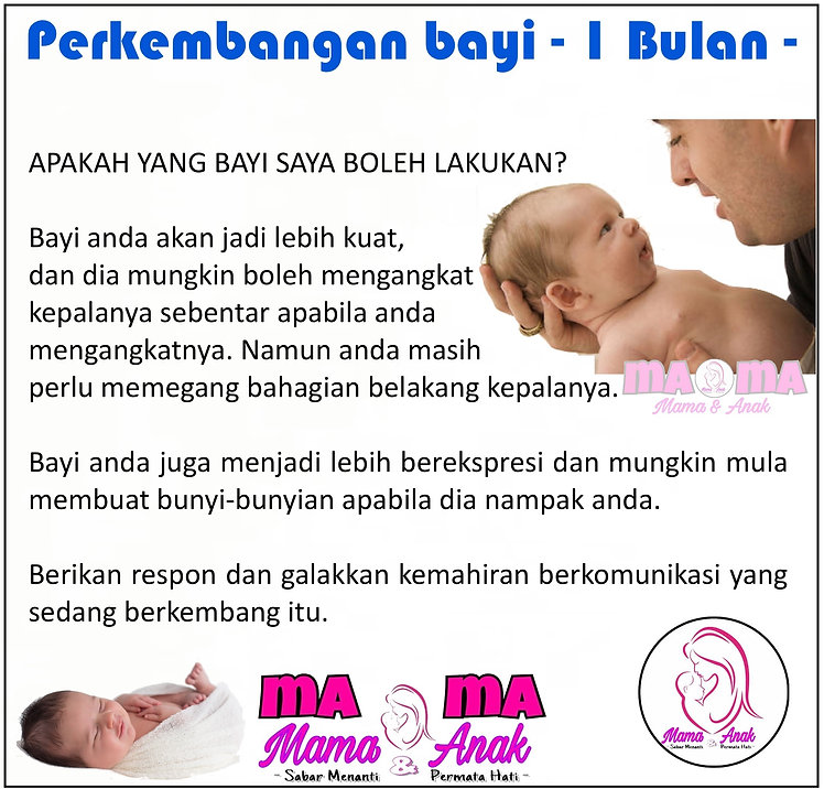 Perkembangan bayi 1 Bulan