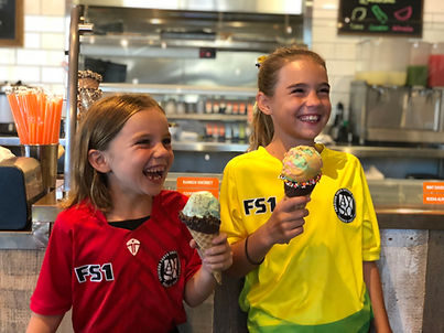 AYSO Players eating ice cream at Kyle's Kitchen