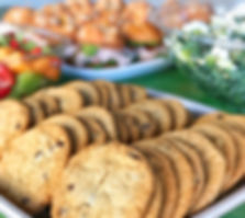 Cookies, salads, sandwiches and fresh fruit