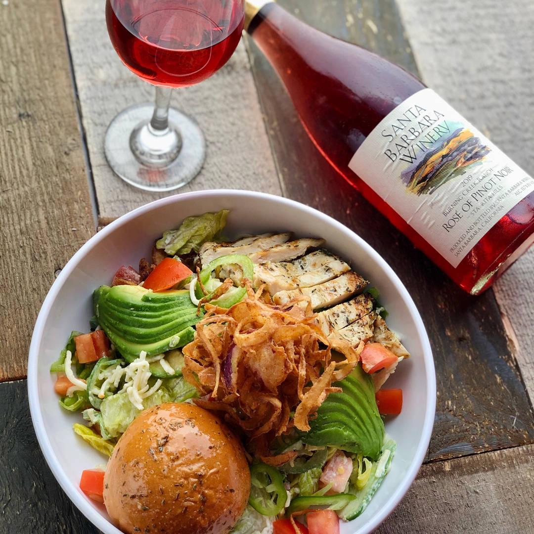 Kickin Cowboy Salad and SB Winery Rose