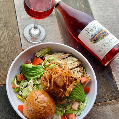 Kickin Cowboy Salad and SB Winery Rose