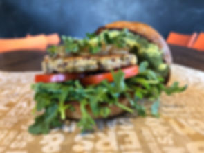 Our Earth Burger is our vegetarian housemade veggie burger.