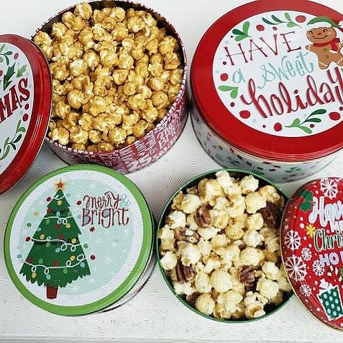 Small Holiday Popcorn Tin
