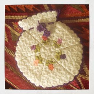 リフ編みのボディタオル