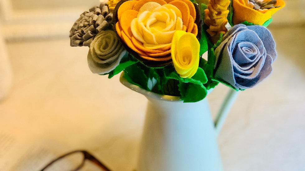 Yellow, Mustard & Grey Felt Flowers