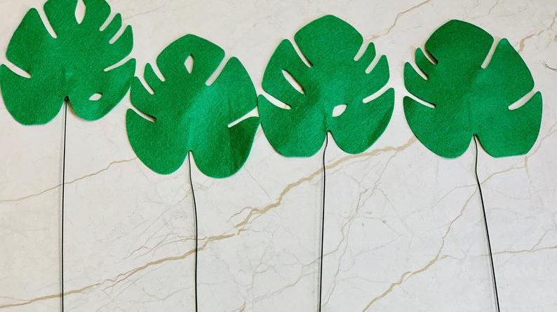 Felt Monstera Leaves, Tropical Leaves