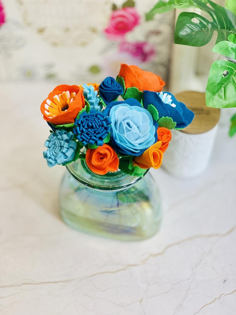 Burnt Orange and Teal Flowers
