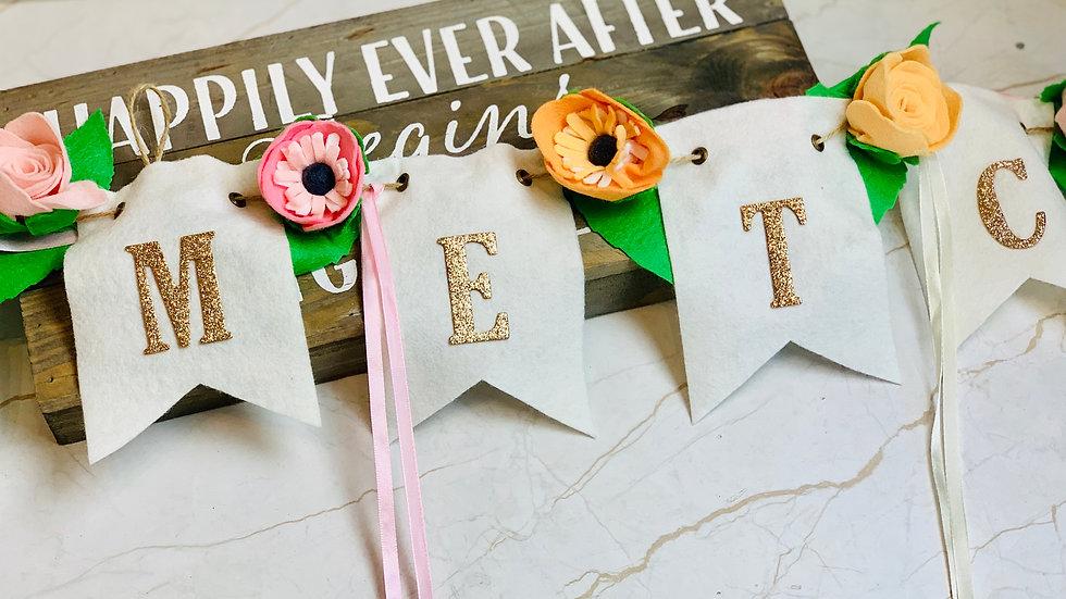 Personalised Wedding Bunting with Felt Flowers