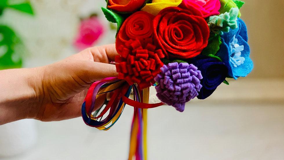 Rainbow Informal Wedding Bouquet - Small Bridal or Bridesmaid